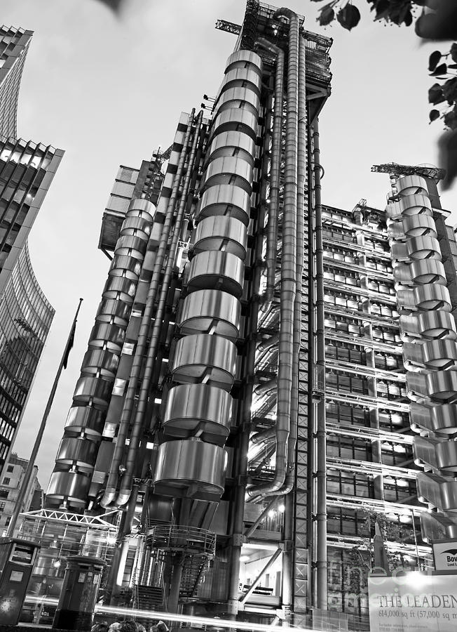Black And White Photograph - Finance The Lloyds Building In The City by Chris Smith