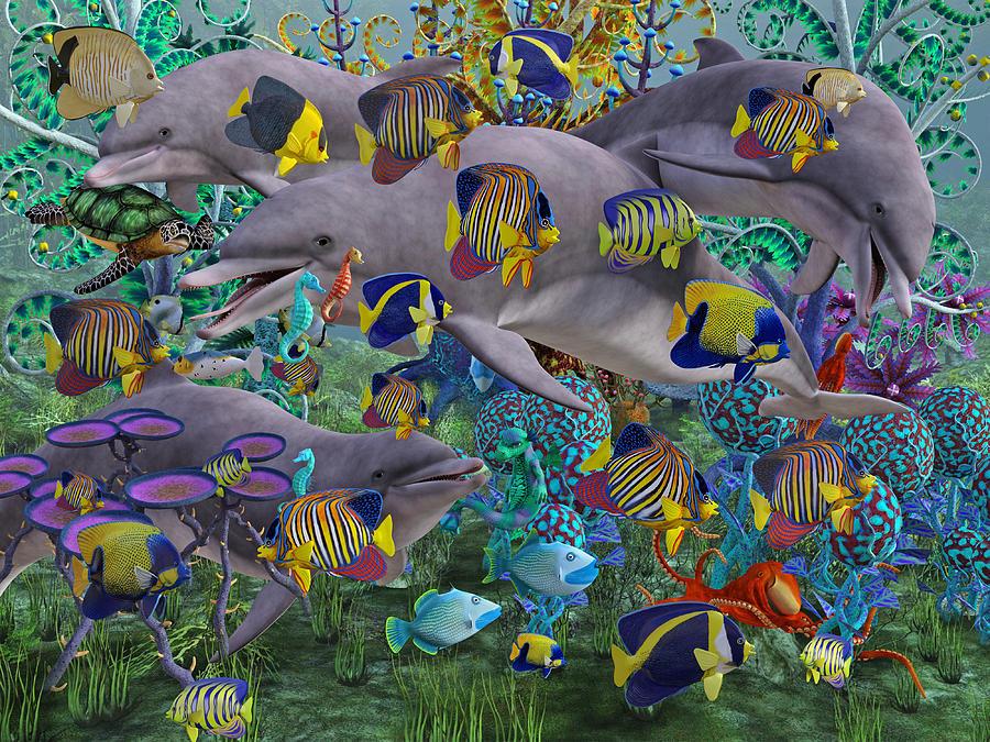 Dolphin Digital Art - Find The Sea Dragon by Betsy Knapp