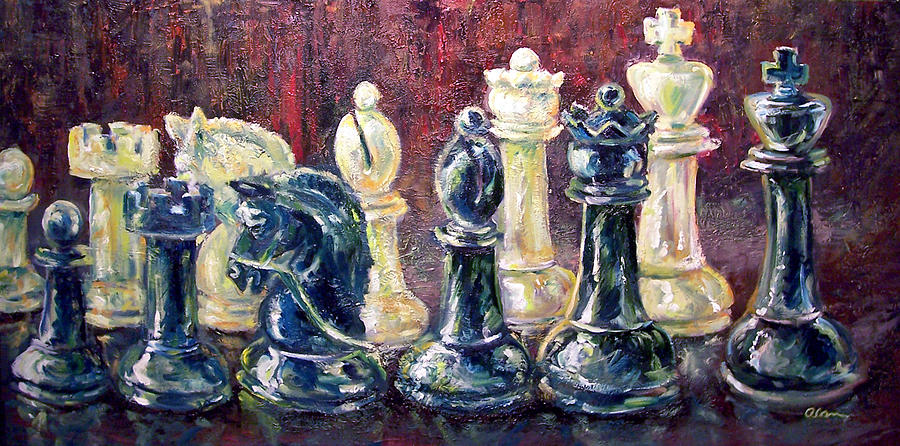 Chess Painting - Find Your Piece by Alan Schwartz