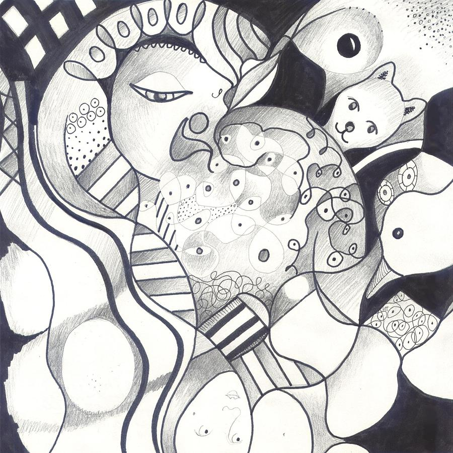 Abstract Drawing - Finding The Goose That Laid The Egg by Helena Tiainen