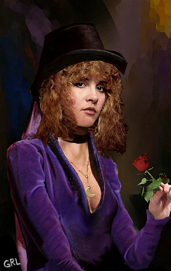 Original Painting - Fine Art Digital Portrait Stevie Nicks Crescent Moon Top Hat by G Linsenmayer