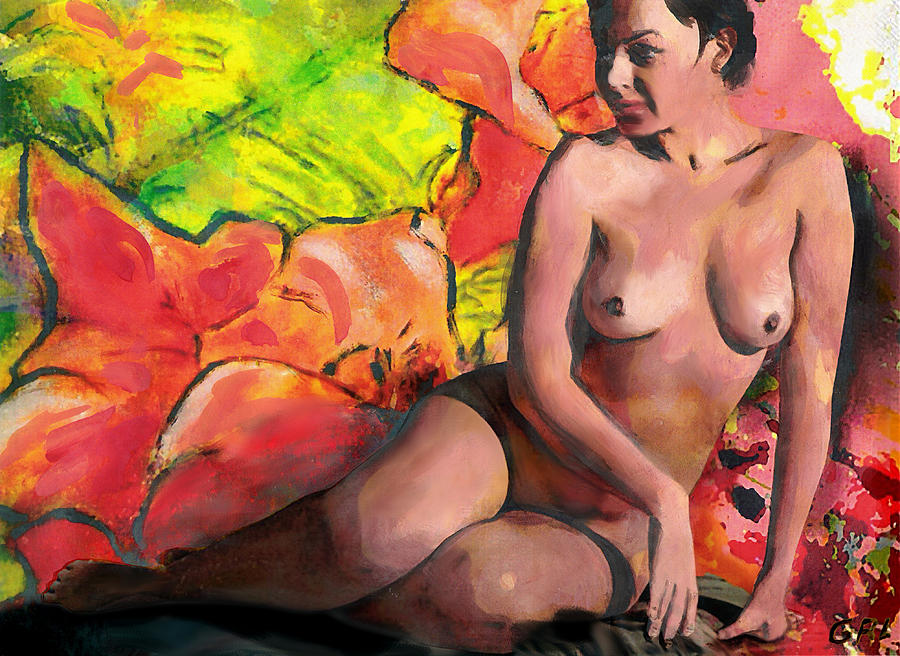 Original Painting - Fine Art Female Nude Anastasia And Daylilies by G Linsenmayer