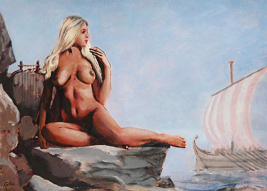 Original Painting - Fine Art Female Nude Jennie As Seanympth Goddess Multimedia Painting by G Linsenmayer