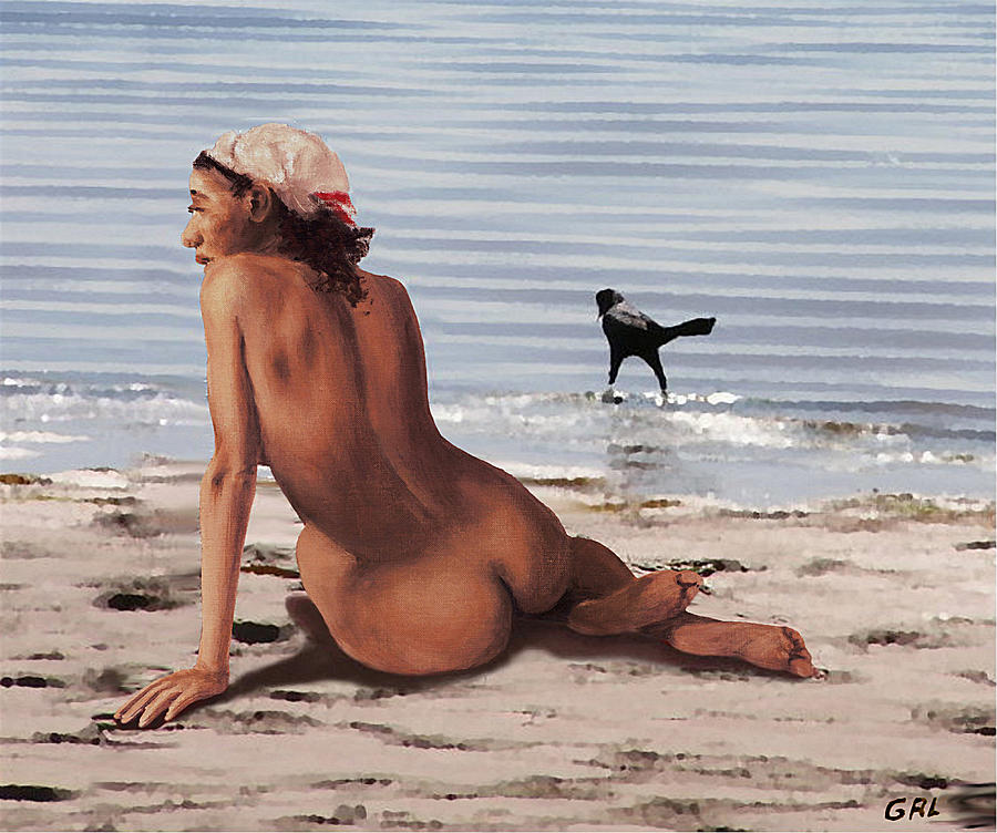 Original Painting - Fine Art Female Nude Multimedia Oil Painting Stacy Sitting Gulf Coast Florida by G Linsenmayer