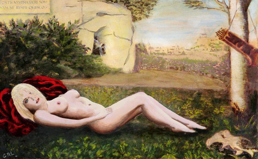 Original Painting - Fine Art Female Nude Niki Goddess Diana Reclining Multimedia Painting by G Linsenmayer