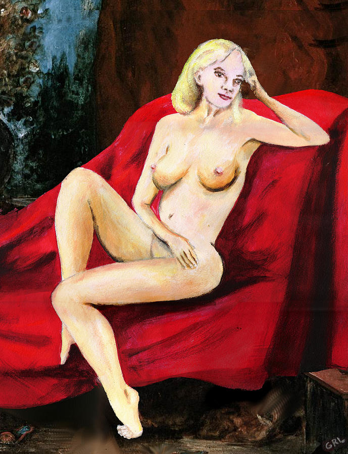 Original Painting - Fine Art Female Nude Seated On Red Drapery by G Linsenmayer