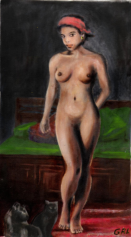 Original Painting - Fine Art Female Nude Standing With Cats by G Linsenmayer