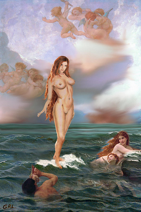 Original Painting - Fine Art Female Nude Tasha As Goddess Aphrodite by G Linsenmayer
