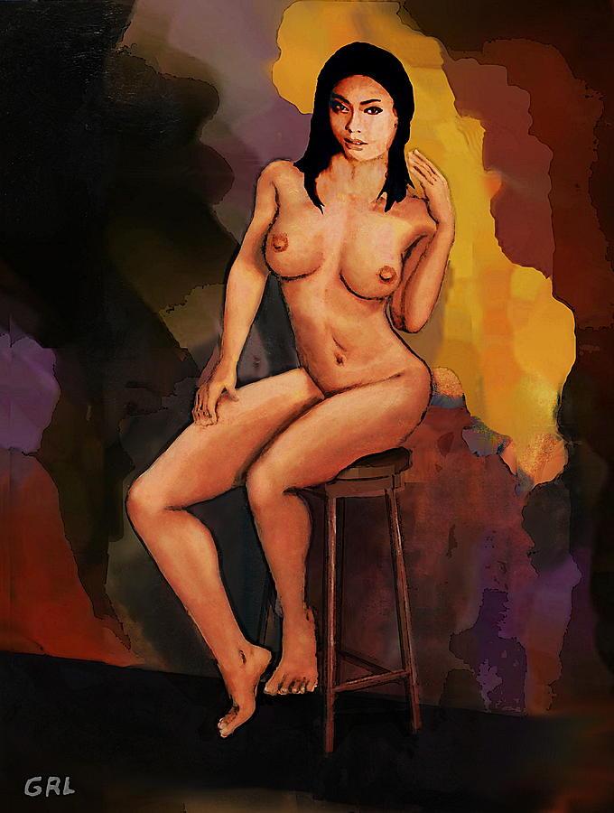 Fine Art Female Nude Vanna Pose2c Multimedia Painting Dark Background by G Linsenmayer