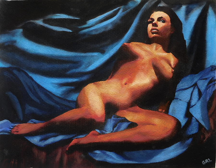 Original Painting - Fine Art Nude Multimedia Painting Tanya Sitting Reclined On Blue by G Linsenmayer
