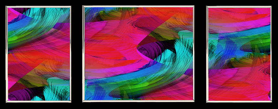 Digital Image Painting - Fine Art Painting Original Digital Abstract Warp10a Triptych by G Linsenmayer
