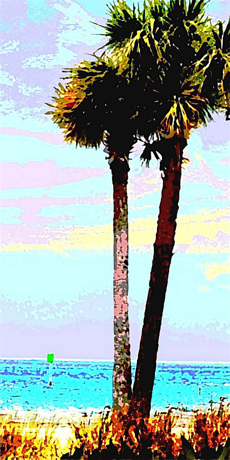 Fine Art Palm Trees Gulf Coast Florida Original Digital Painting by G Linsenmayer