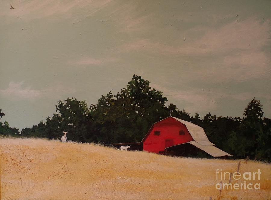 Red Barn Painting - Fine August Day by Carla Dabney