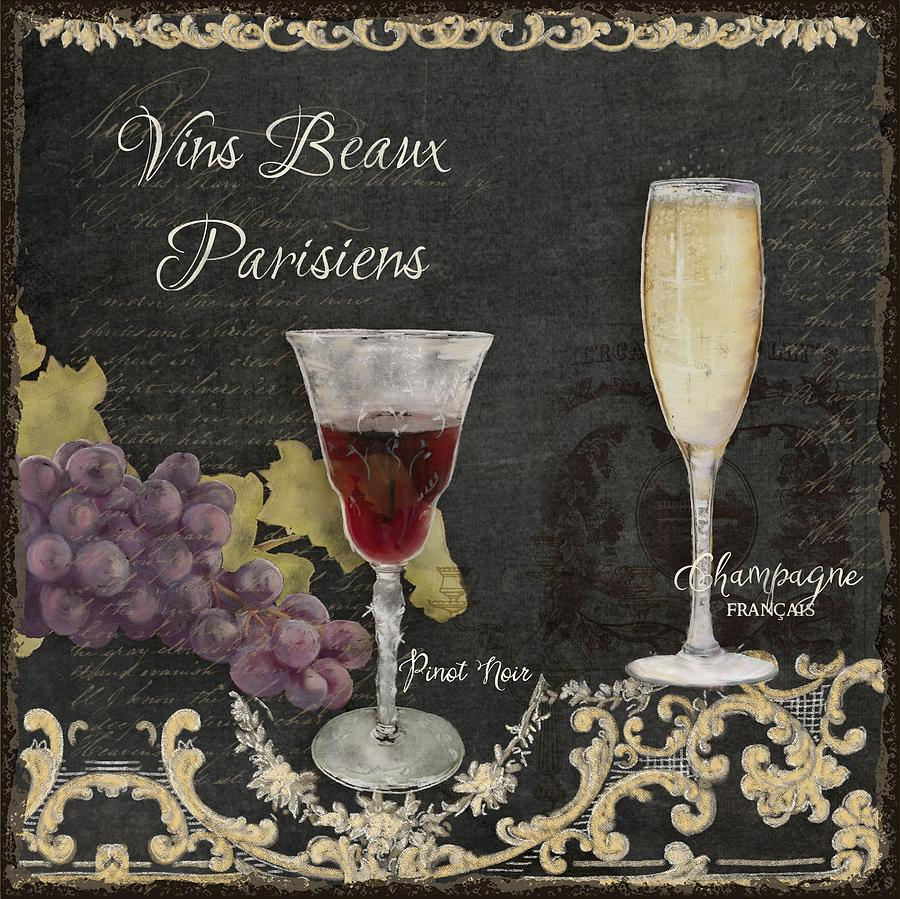 Chalk Painting - Fine French Wines - Vins Beaux Parisiens by Audrey Jeanne Roberts