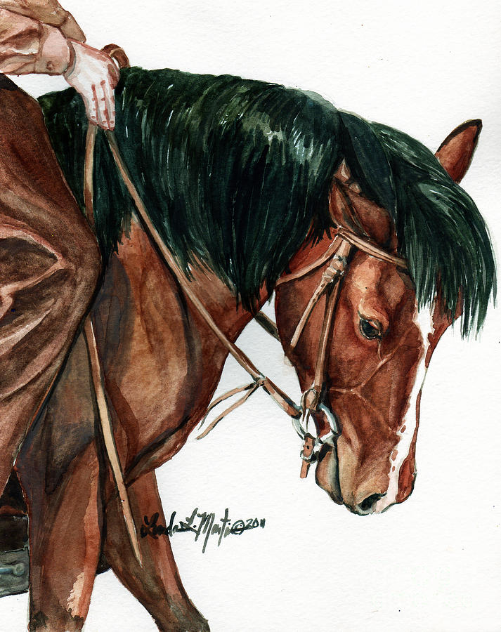 Wild Horse Painting - Fine Tuning by Linda L Martin