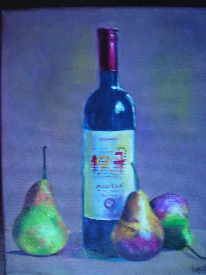 Still Life Paintings Painting - Fine Wine Paintings - A French Wine With Pears by Virgilla Lammons