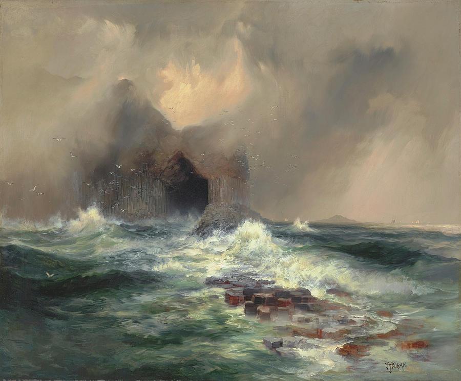 Moran Painting - Fingals Cave, Island Of Staffa, Scotland by Thomas Moran