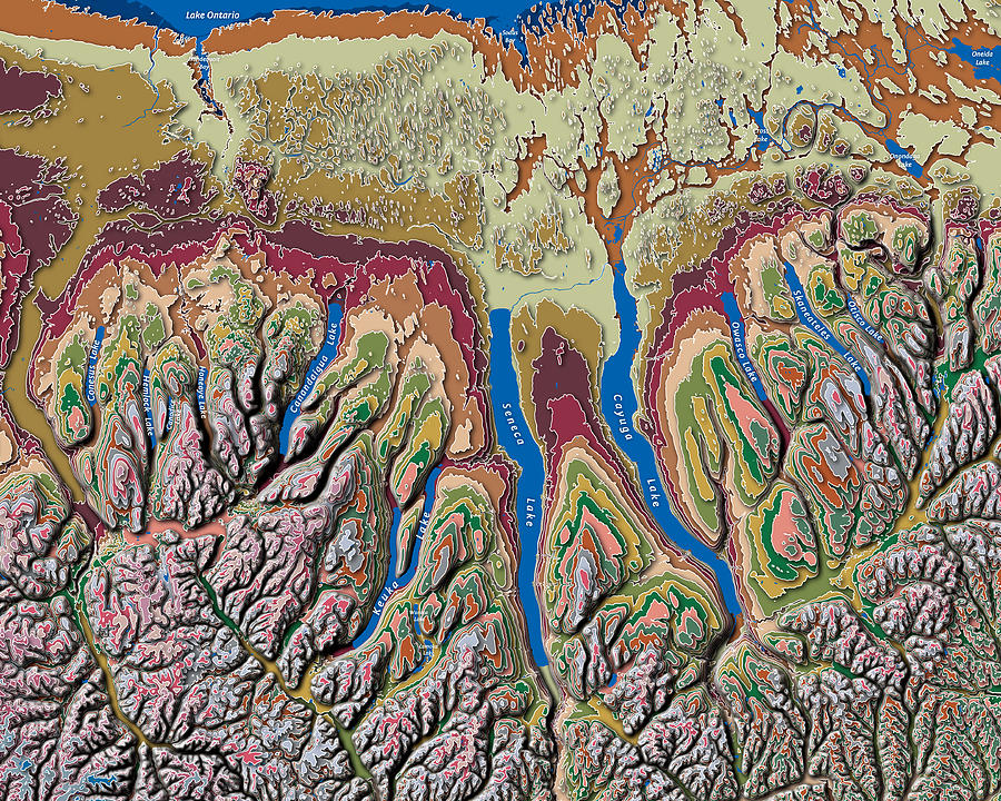 Map Of New York Finger Lakes.Finger Lakes Of New York Contour Map By Paul Hein