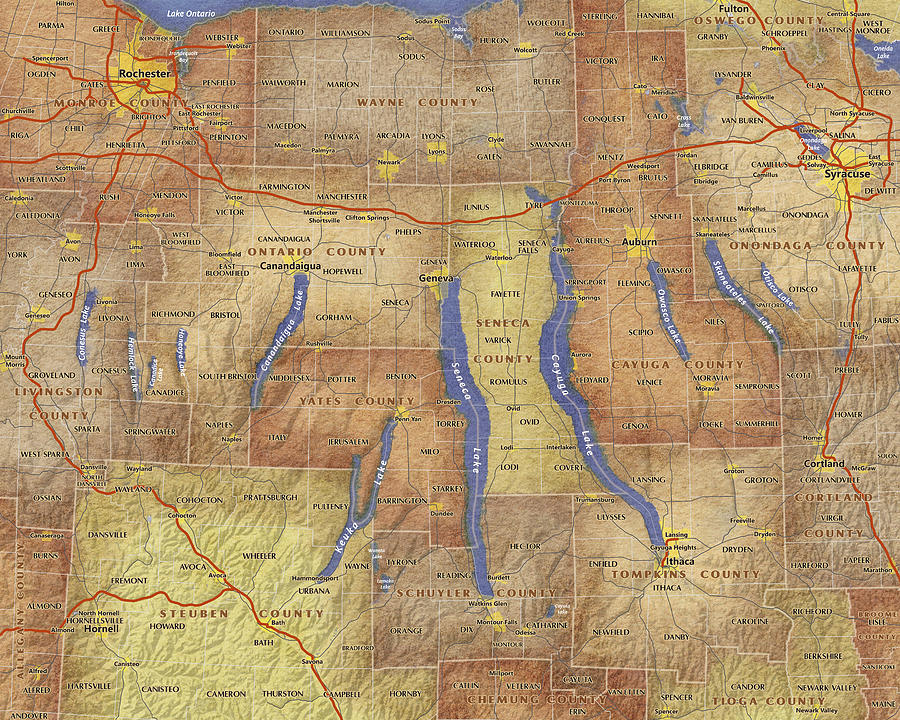 Map Of New York Finger Lakes Region.Finger Lakes Of New York Watercolor Map