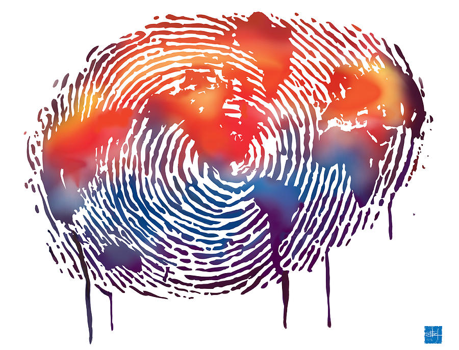 Map Painting - Finger Print Map Of The World by Sassan Filsoof