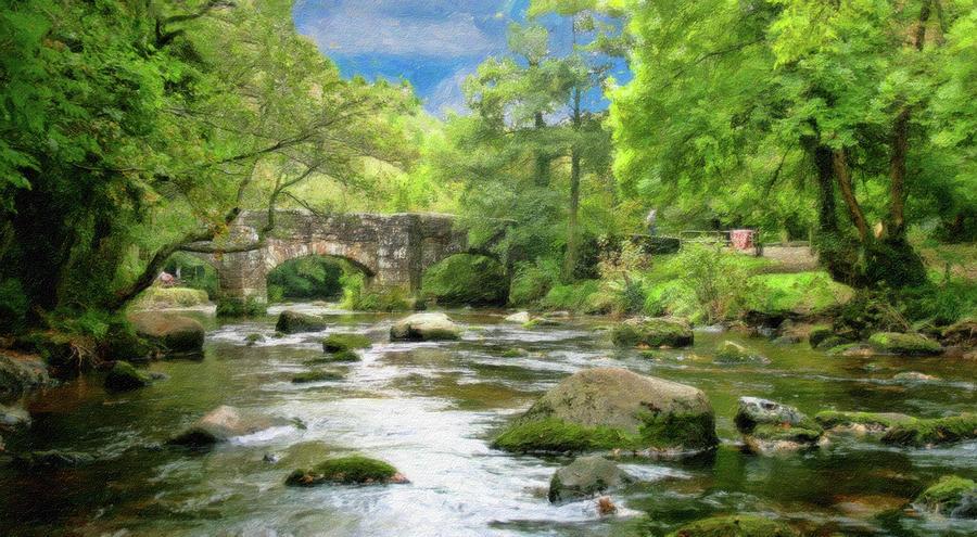 Bridge Painting - Fingle Bridge - P4a16007 by Dean Wittle