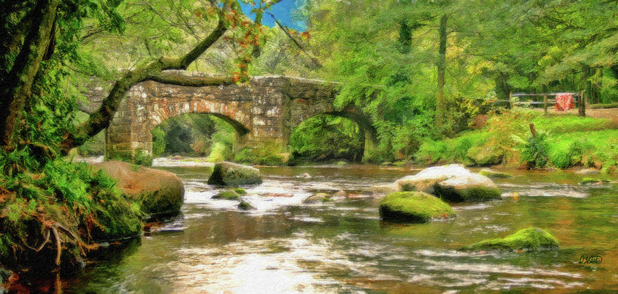 Bridge Painting - Fingle Bridge - P4a16013 by Dean Wittle