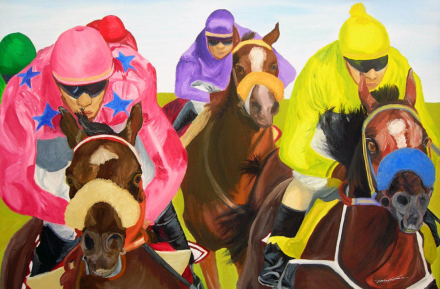 Horse Racing Painting - Finish Line by Michael Lee