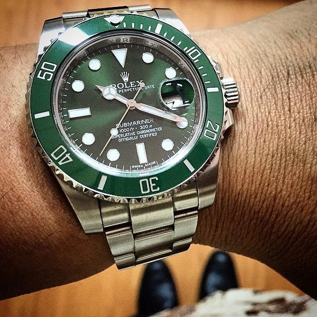 Watch Photograph - Finish Line Rolex 116610lv Aka Hulk by Arya Swadharma