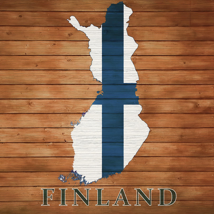 Map Of Finland Mixed Media - Finland Rustic Map On Wood by Dan Sproul