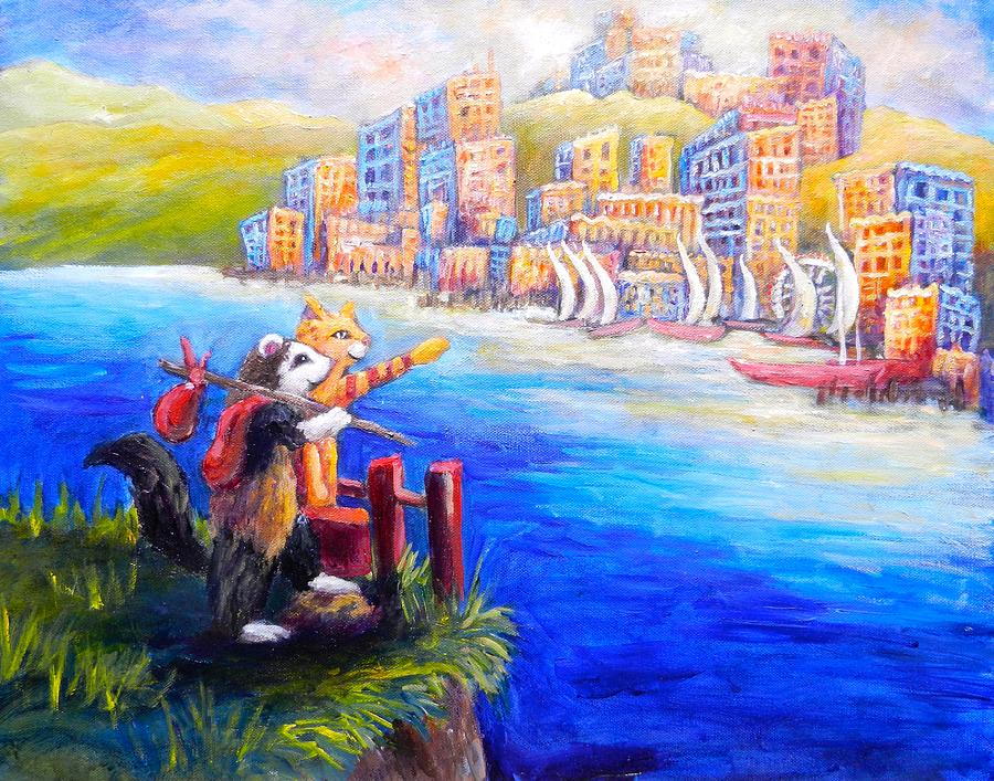 Ferret Painting - Finn And Hati Go To Town by Sebastian Pierre