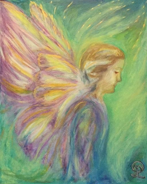 Fiona the Butterfly Angel Painting by Therese Legere
