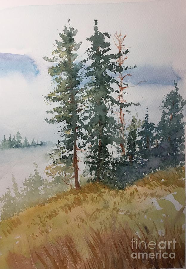 Fir Trees Painting by Yohana Knobloch