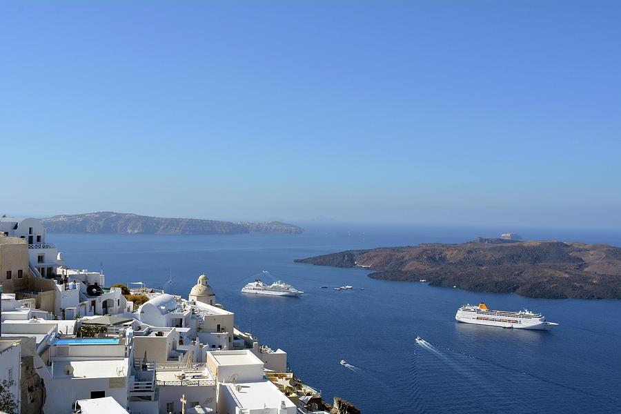 Fira Capital Of Santorini Island And The View Of Volcanic Caldera Santorini Greece