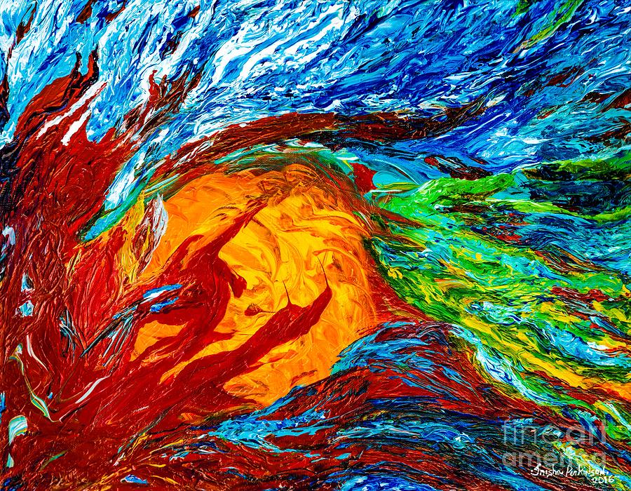 Fire And Ice Elementals Impasto Abstract