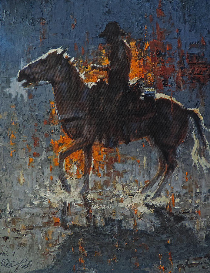 Rider Painting - Fire And Ice by Mia DeLode