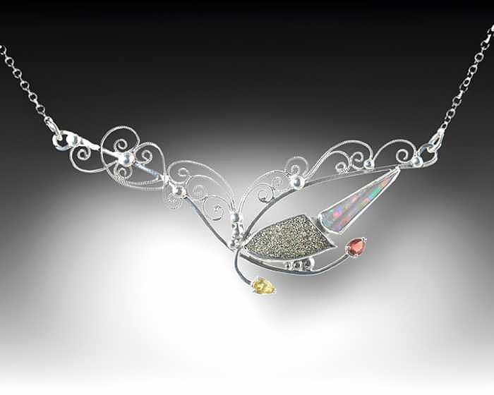 Handcrafted Jewelry - Fire And Lace by Jeanne  Rhodes-Moen
