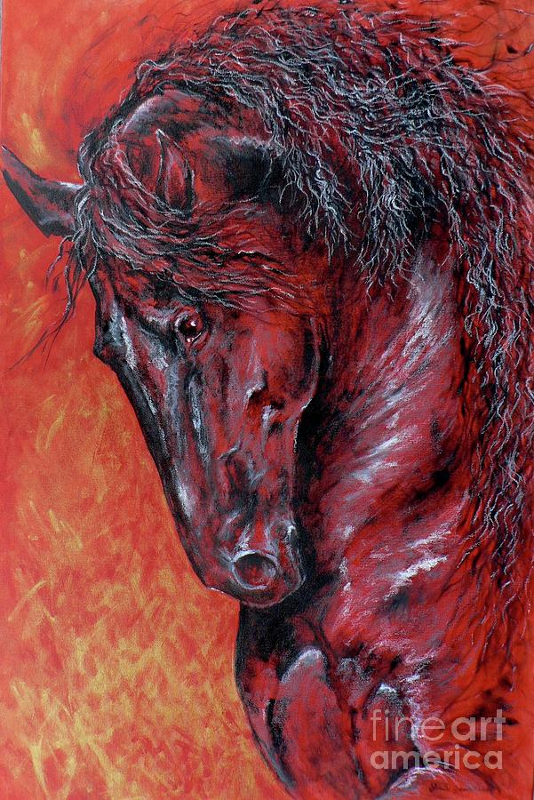 Friesian Mixed Media - Fire And Nobility by Louise Green