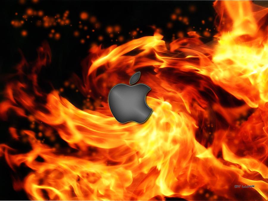 Wallpaper Digital Art - Fire Apple by Ivan Csorgo