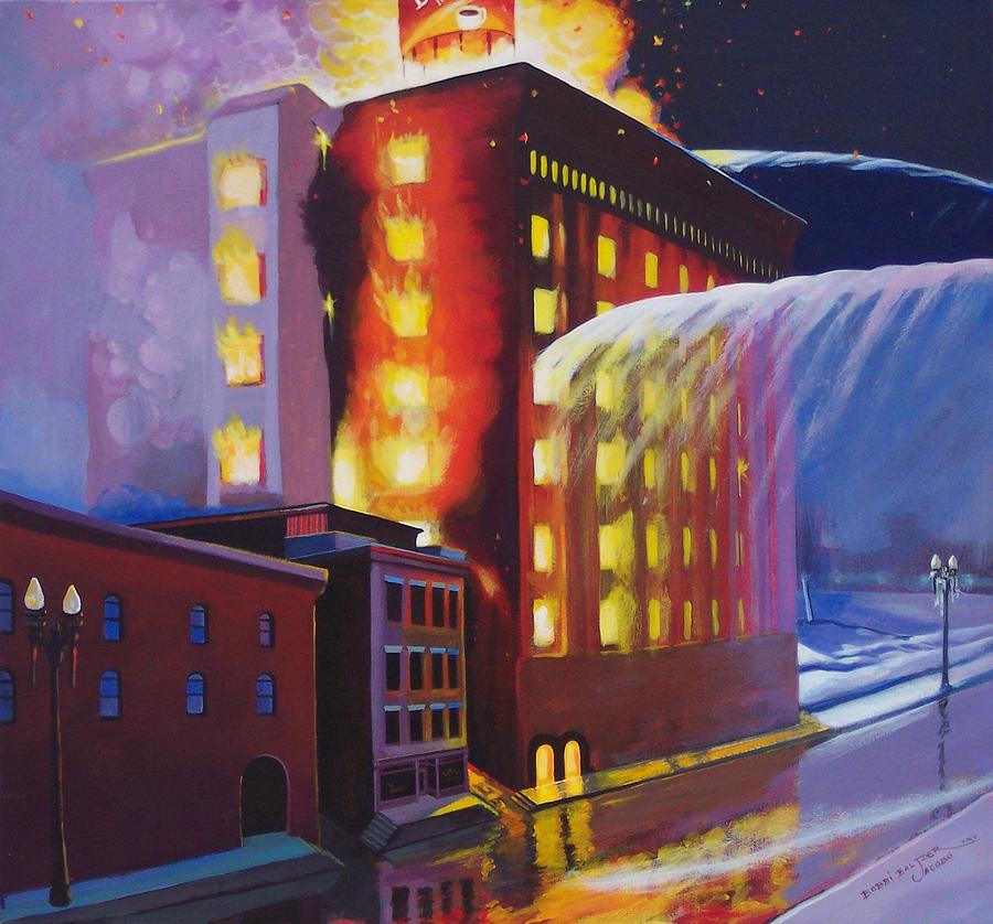 Fire Department Painting - Fire At The Butternut Building by Bobbi Baltzer-Jacobo
