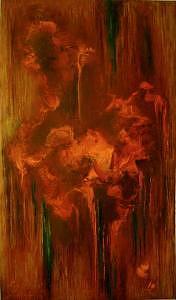 Abstract Painting - Fire Bird I by Lyuba Zahova