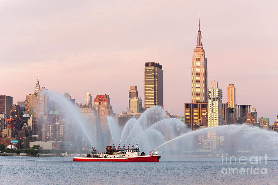 Big Apple Photograph - Fire Boat And Manhattan Skyline I by Clarence Holmes