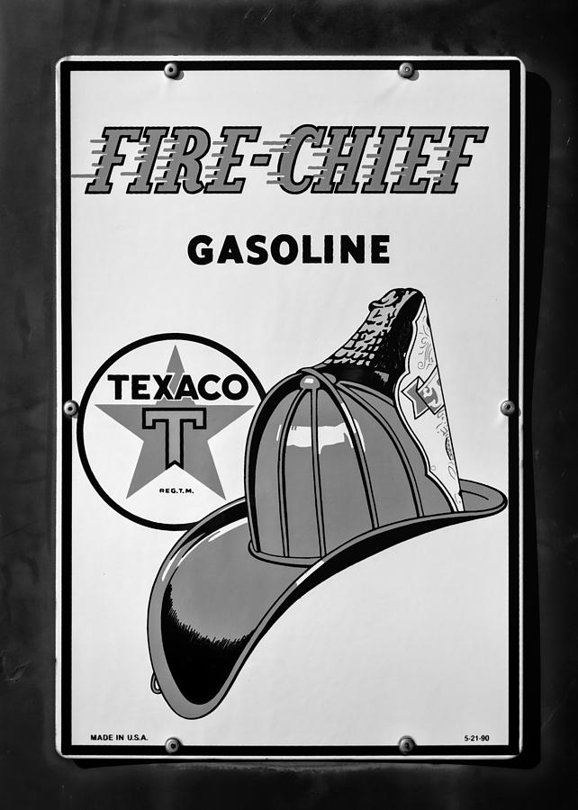 Texaco Photograph - Fire-chief Sign #2 by Stephen Stookey
