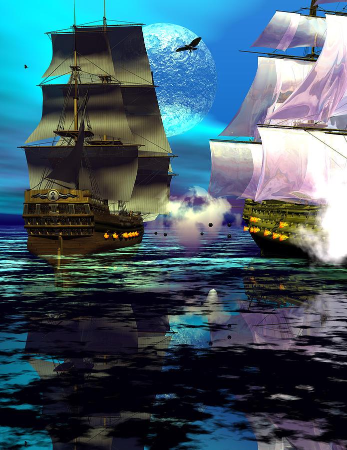 Bryce 3d Scifi Fantasy  Battle \tall Ship\ Sailing Windjammer \sailing Ship\ Sailing Digital Art - Fire by Claude McCoy