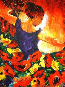 Figurative Painting - Fire Dance by Liana Goroian