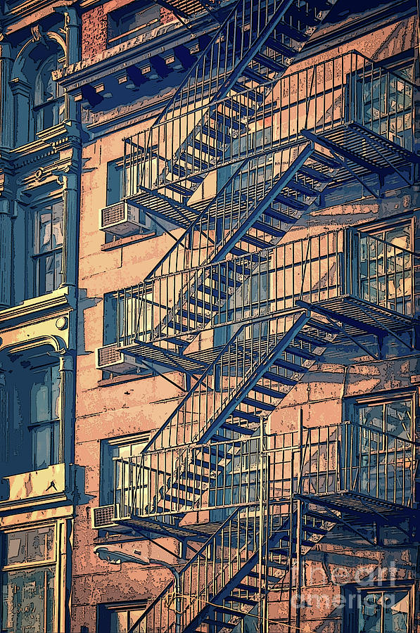 New York Drawing - Fire Escape by Delphimages Photo Creations