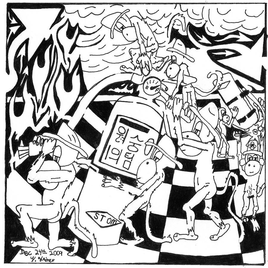 Fire Drawing - Fire Extinguishing Team Of Monkeys Maze by Yonatan Frimer Maze Artist