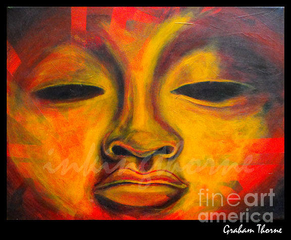 Face Painting - Fire Face by Graham Thorne