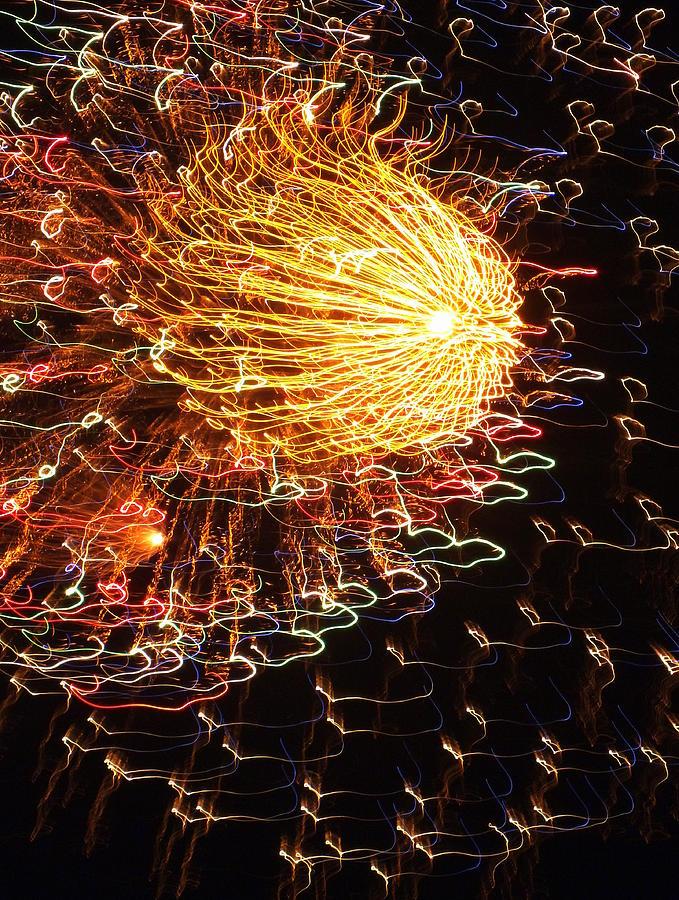 Fireworks Photograph - Fire Flower by Karen Wiles