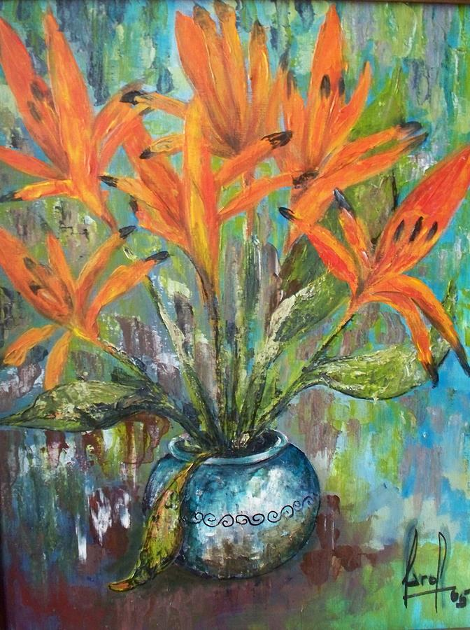 Fire Flowers Painting by Carol P Kingsley
