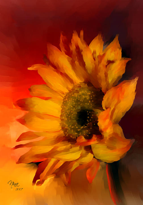 Flower Mixed Media - Fire by Guadalupe Platero